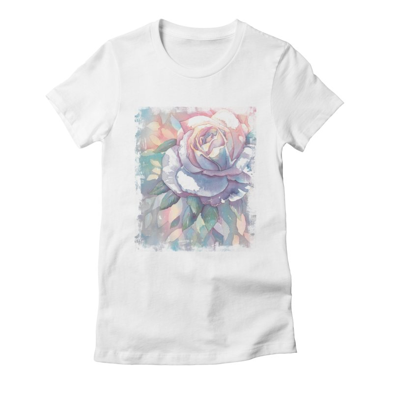 Watercolor Rose Women's Fitted T-Shirt by Kingdomatheart's Artist Shop