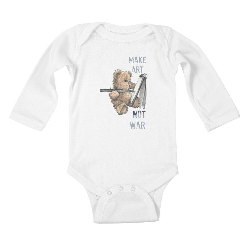 Make Art not War Kids Baby Longsleeve Bodysuit by Kingdomatheart's Artist Shop
