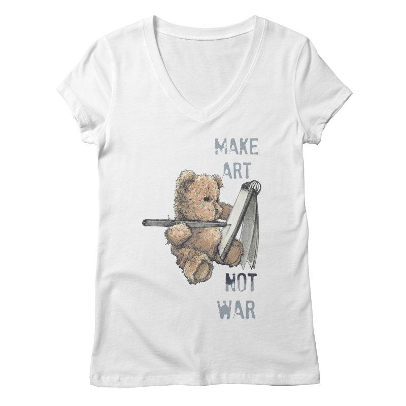 Make Art not War Women's V-Neck by Kingdomatheart's Artist Shop