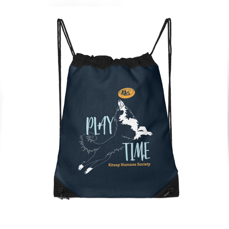Play Time Accessories Drawstring Bag Bag by Kitsap Humane Society's Artist Shop
