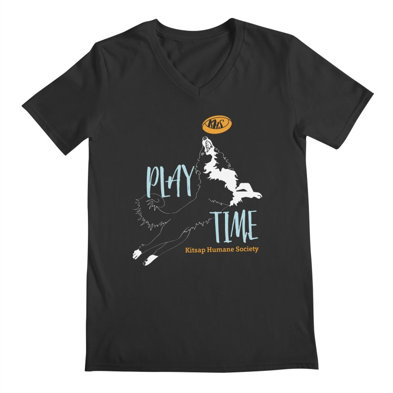 Play Time Men's Regular V-Neck by Kitsap Humane Society's Artist Shop