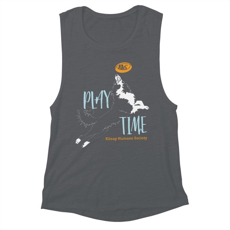 Play Time Women's Muscle Tank by Kitsap Humane Society's Artist Shop