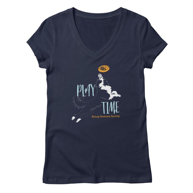 Play Time Women's Regular V-Neck by Kitsap Humane Society's Artist Shop