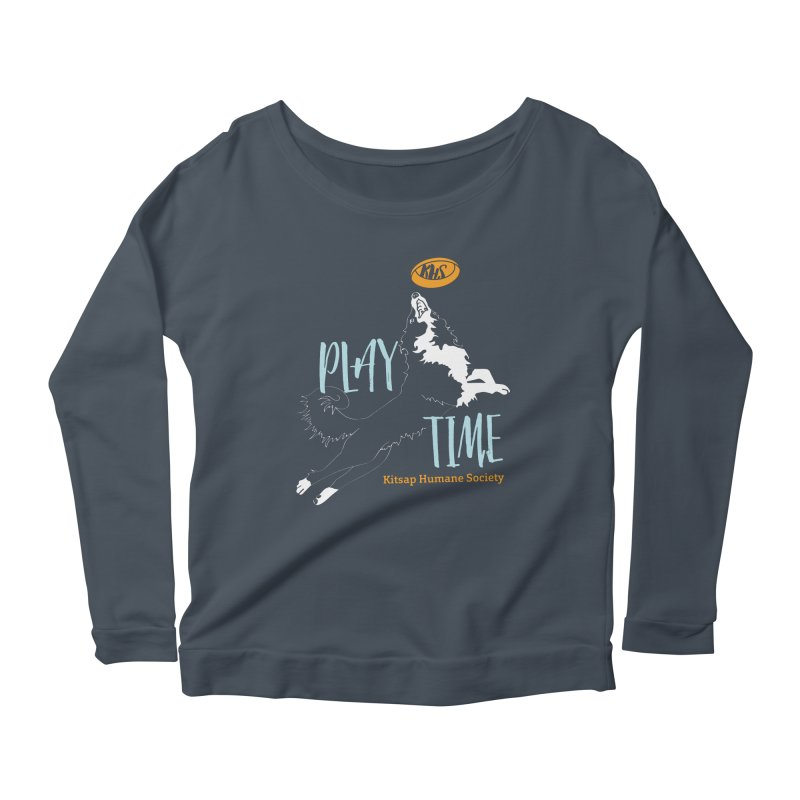 Play Time Women's Scoop Neck Longsleeve T-Shirt by Kitsap Humane Society's Artist Shop