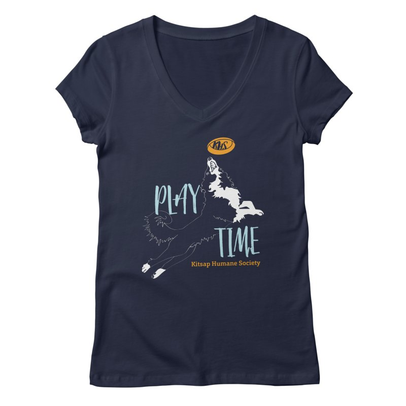 Play Time Women's Regular V-Neck by Kitsap Humane Society's Artist Shop
