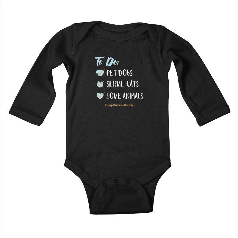 To Do: Love Animals Kids Baby Longsleeve Bodysuit by Kitsap Humane Society's Artist Shop