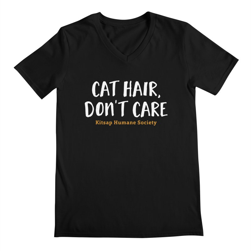 Cat Hair, Don't Care Men's Regular V-Neck by Kitsap Humane Society's Artist Shop