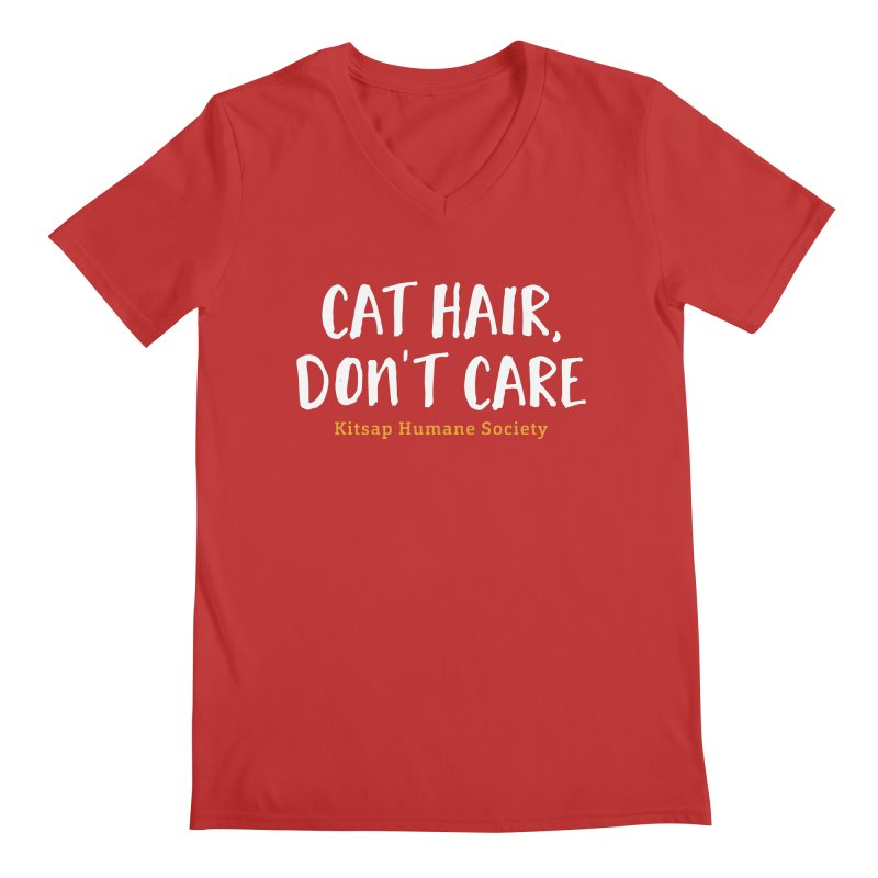 Cat Hair, Don't Care Men's V-Neck by Kitsap Humane Society's Artist Shop