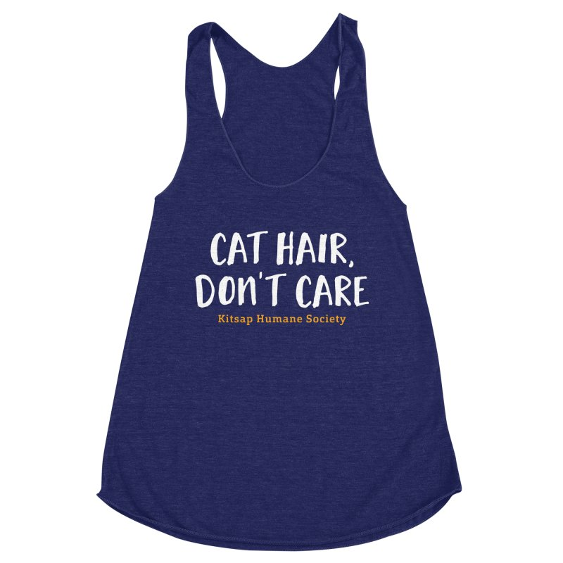 Cat Hair, Don't Care Women's Racerback Triblend Tank by Kitsap Humane Society's Artist Shop