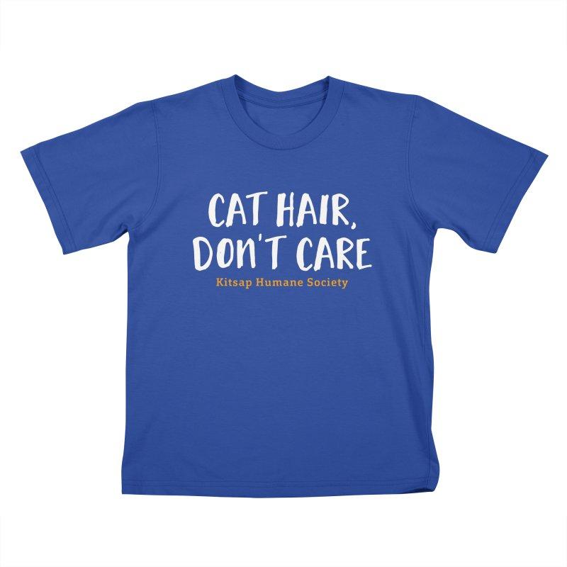 Cat Hair, Don't Care Kids T-Shirt by Kitsaphumanesociety's Artist Shop