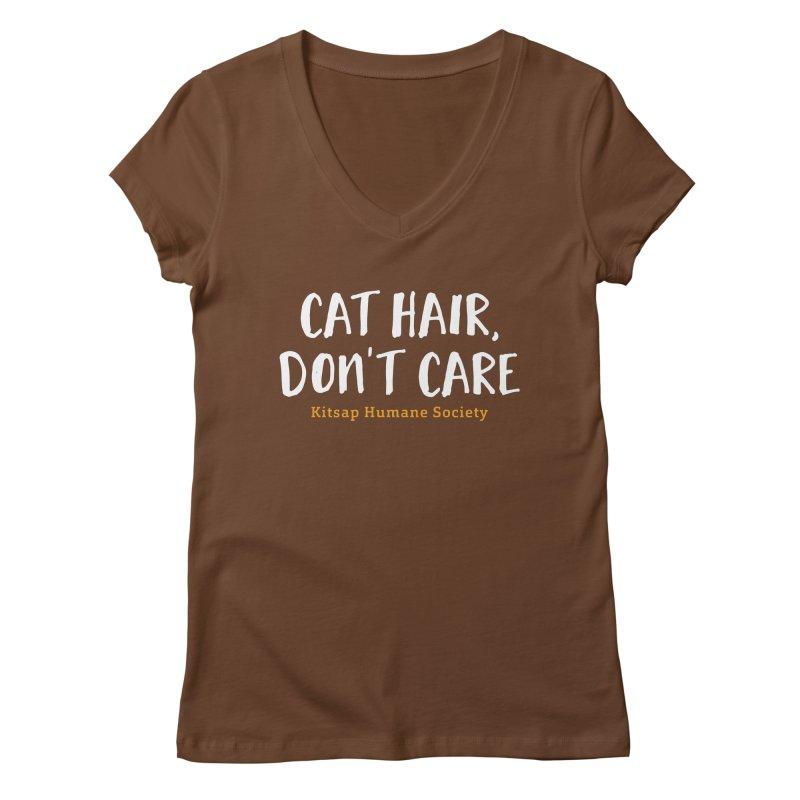 Cat Hair, Don't Care Women's Regular V-Neck by Kitsap Humane Society's Artist Shop