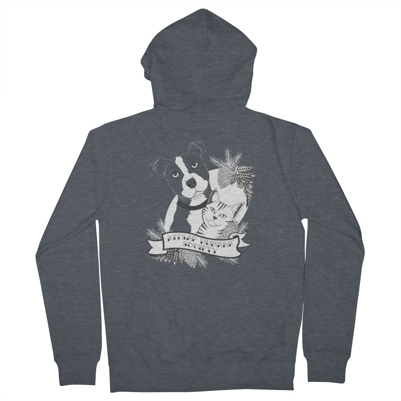 Tattoo Style KHS Women's French Terry Zip-Up Hoody by Kitsap Humane Society's Artist Shop