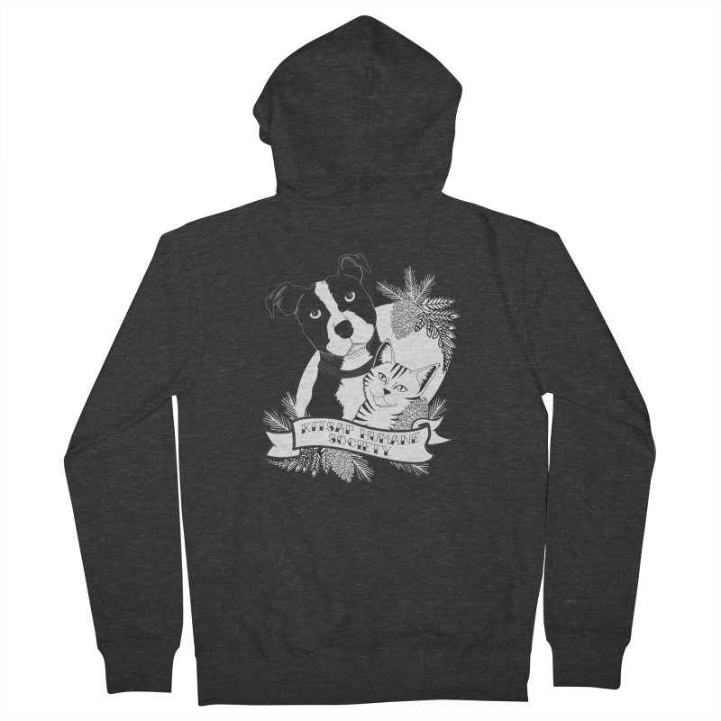 Tattoo Style KHS Men's French Terry Zip-Up Hoody by Kitsap Humane Society's Artist Shop
