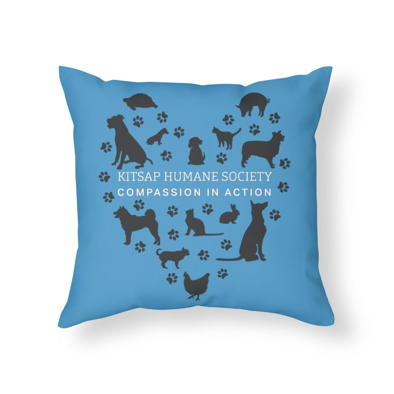 Building a Humane Community Home Throw Pillow by Kitsap Humane Society's Artist Shop