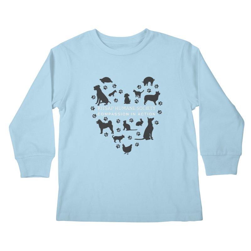 Building a Humane Community Kids Longsleeve T-Shirt by Kitsap Humane Society's Artist Shop