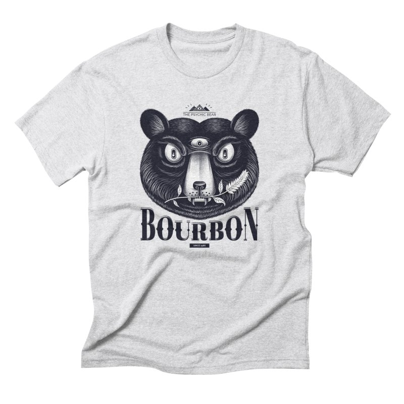 Bourbon Bear in Men's Triblend T-Shirt Heather White by Pierre's Artist Shop