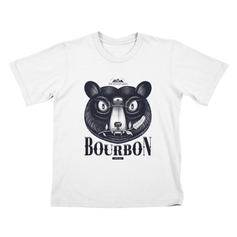 Bourbon Bear Kids T-Shirt by Pierre's Artist Shop