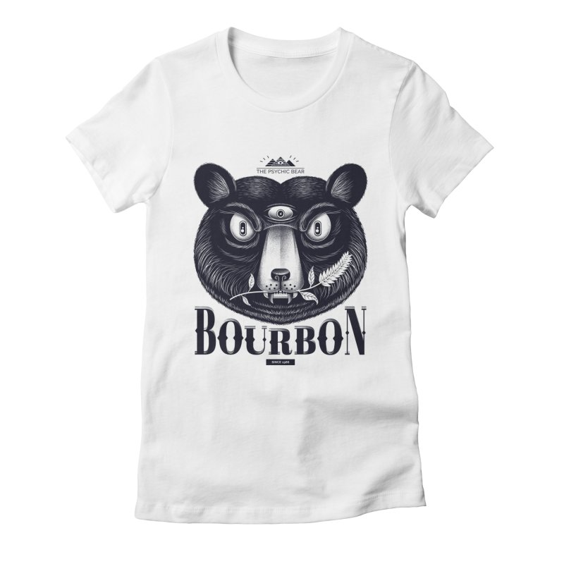 Bourbon Bear Women's Fitted T-Shirt by Pierre's Artist Shop