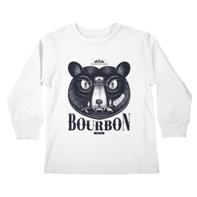 Bourbon Bear Kids Longsleeve T-Shirt by Pierre's Artist Shop