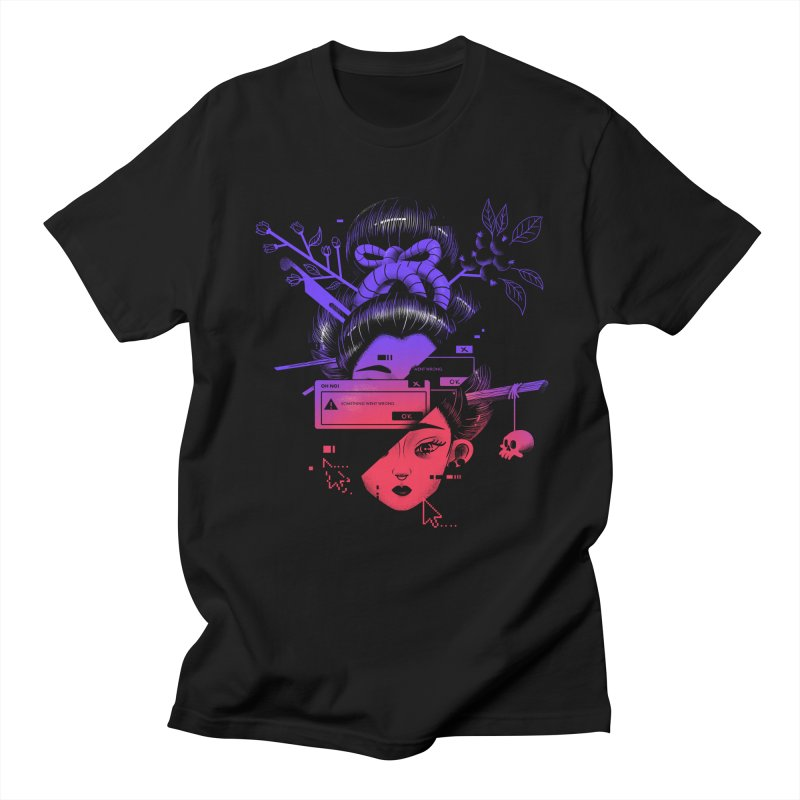 Glitched Geisha T-shirt Men's Regular T-Shirt by Pierre's Artist Shop