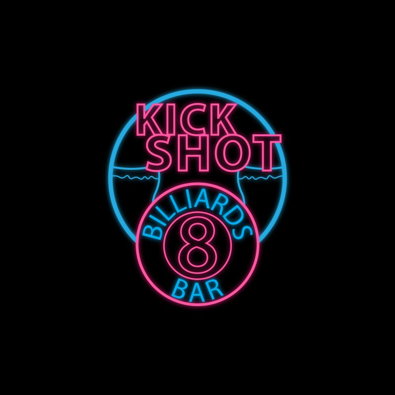Kick Shot- Jacky Leon's Bar GLOW Men's T-Shirt by Kristen Banet's Universe