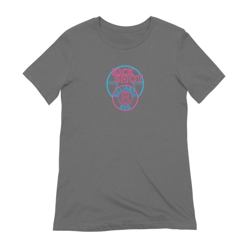 Kick Shot- Jacky Leon's Bar GLOW Women's T-Shirt by Kristen Banet's Universe
