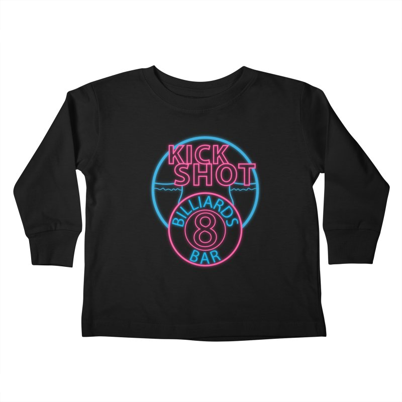 Kick Shot- Jacky Leon's Bar GLOW Kids Toddler Longsleeve T-Shirt by Kristen Banet's Universe