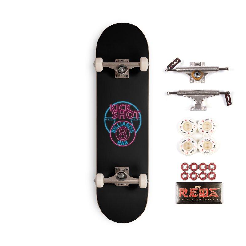 Kick Shot- Jacky Leon's Bar GLOW Accessories Skateboard by Kristen Banet's Universe