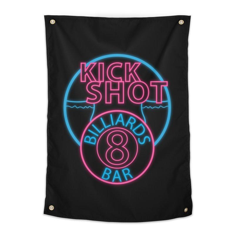 Kick Shot- Jacky Leon's Bar GLOW Home Tapestry by Kristen Banet's Universe