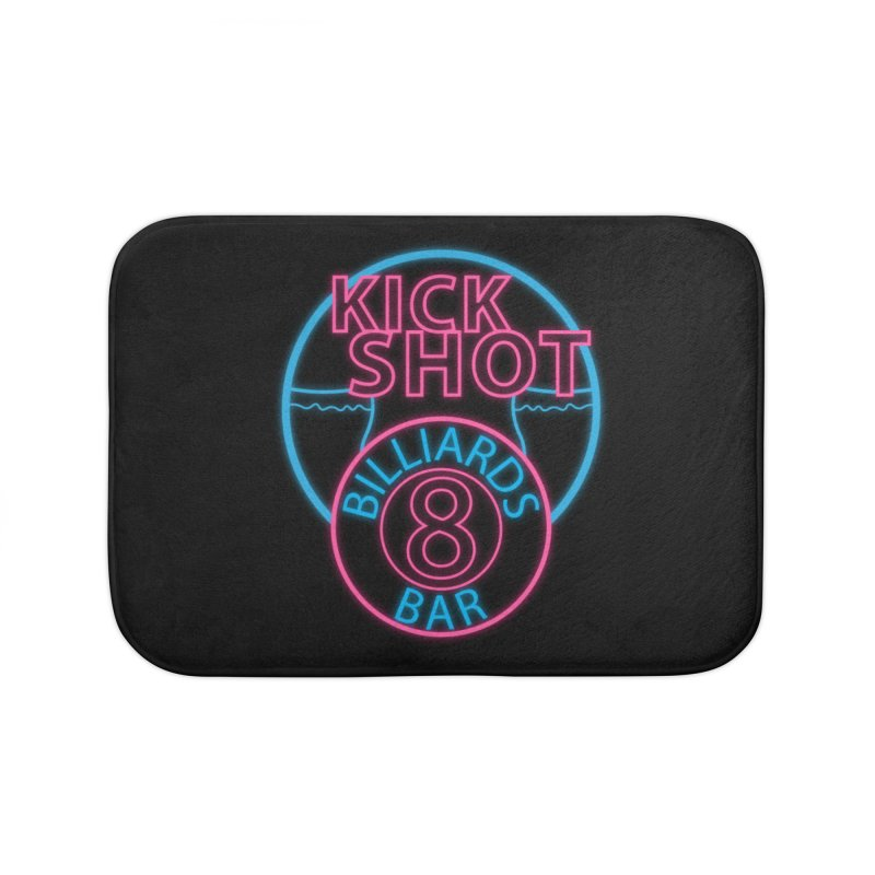 Kick Shot- Jacky Leon's Bar GLOW Home Bath Mat by Kristen Banet's Universe