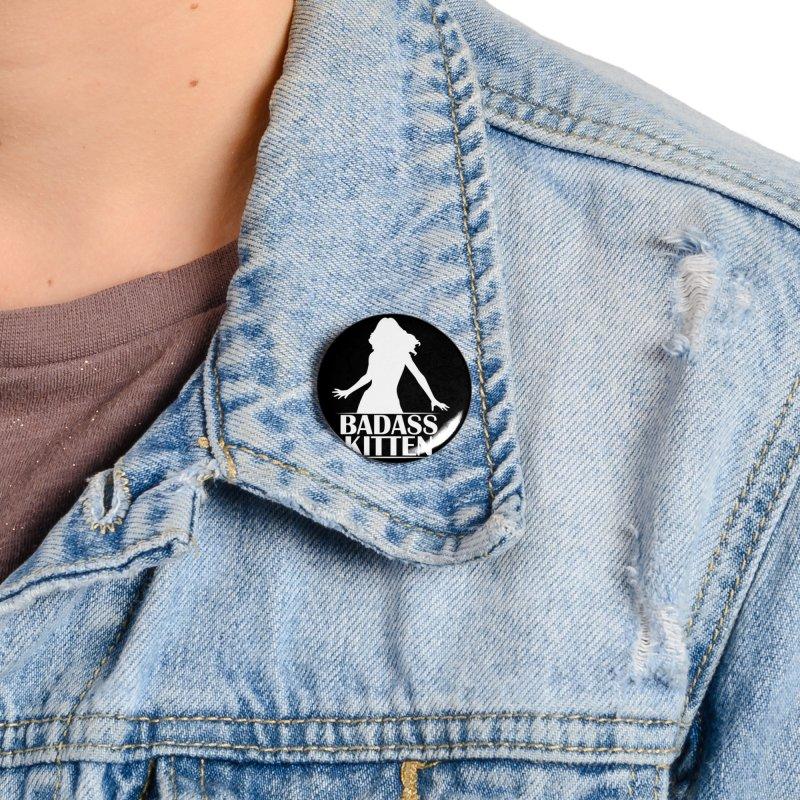 Badass Kitten- Jacky Leon Accessories Button by Kristen Banet's Universe