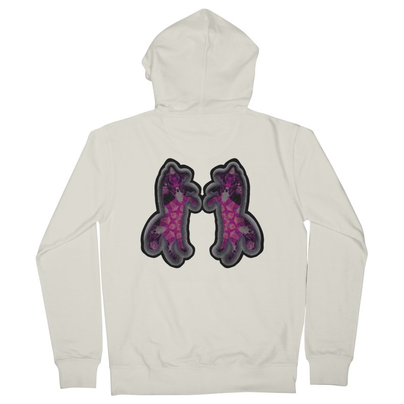 dancing fractal foxes Women's French Terry Zip-Up Hoody by KristieRose Designs