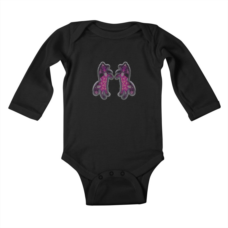 dancing fractal foxes Kids Baby Longsleeve Bodysuit by KristieRose Designs