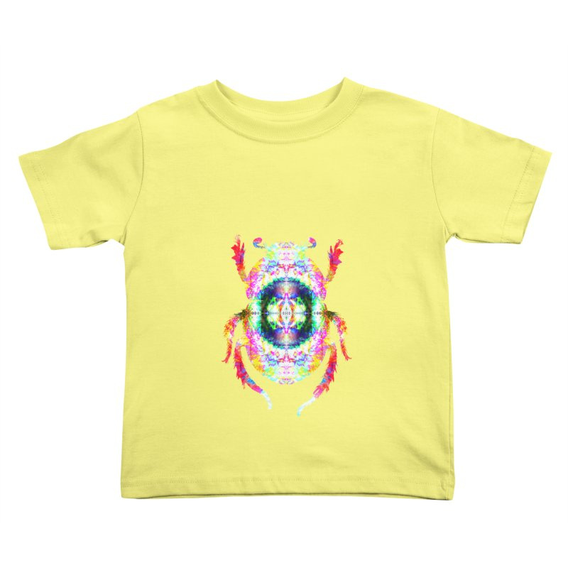 fractal beatle in Kids Toddler T-Shirt Lemon by KristieRose Designs