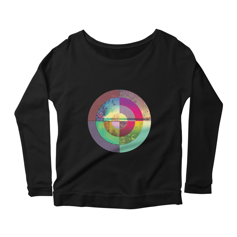 tranquil eye circle art Women's Scoop Neck Longsleeve T-Shirt by KristieRose Designs