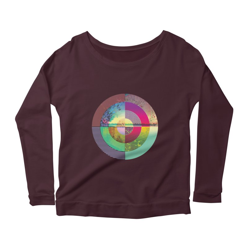 tranquil eye circle art in Women's Scoop Neck Longsleeve T-Shirt Dark Purple by KristieRose Designs