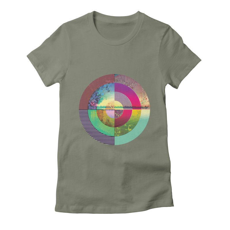 tranquil eye circle art Women's Fitted T-Shirt by KristieRose Designs