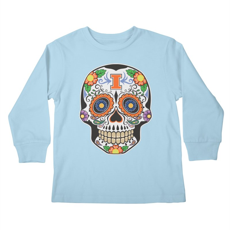 Illini Calavera Kids Longsleeve T-Shirt by LLAA's Artist Shop
