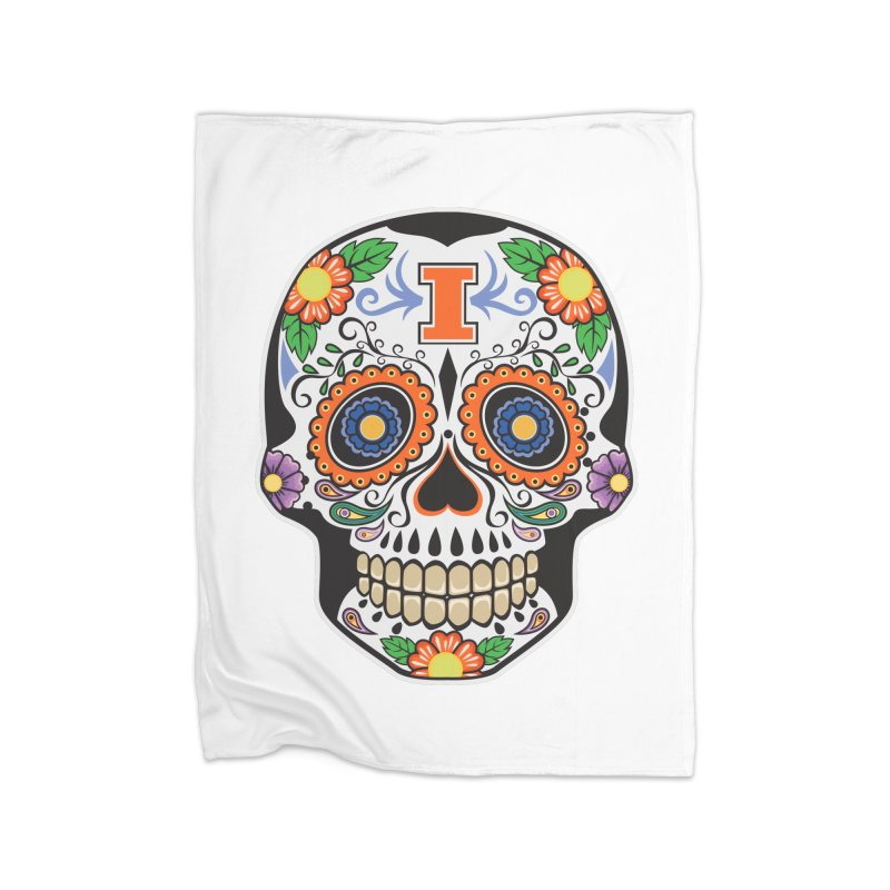 Illini Calavera Home Fleece Blanket Blanket by LLAA's Artist Shop