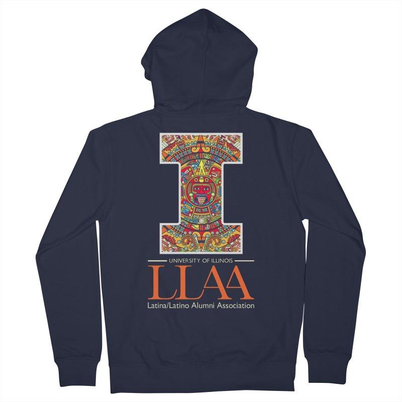LLAA - Aztec Calendar - Blue Background Women's French Terry Zip-Up Hoody by LLAA's Artist Shop