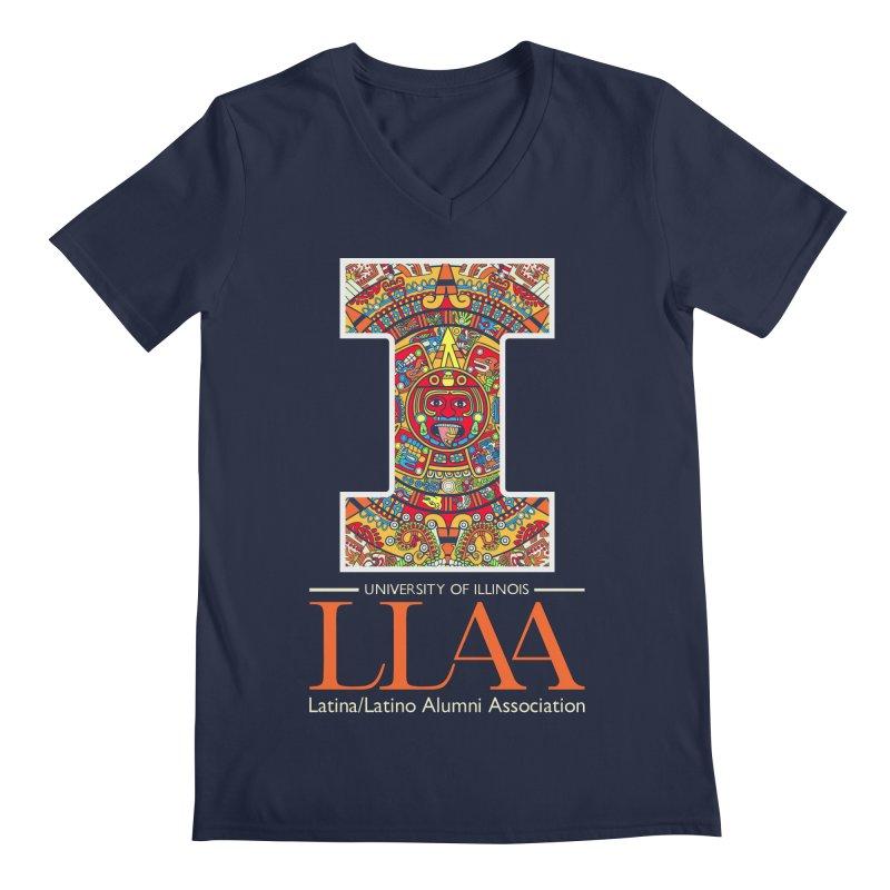 LLAA - Aztec Calendar - Blue Background Men's Regular V-Neck by LLAA's Artist Shop