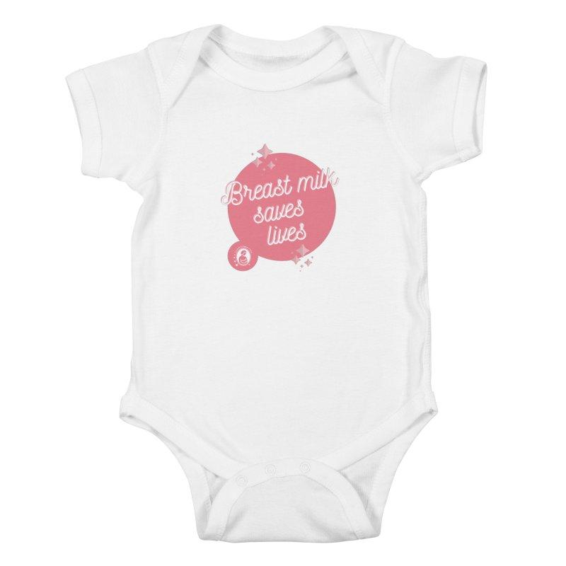 Breast Milk Saves Lives- Large Logo Kids Baby Bodysuit by LLLUSA's Artist Shop