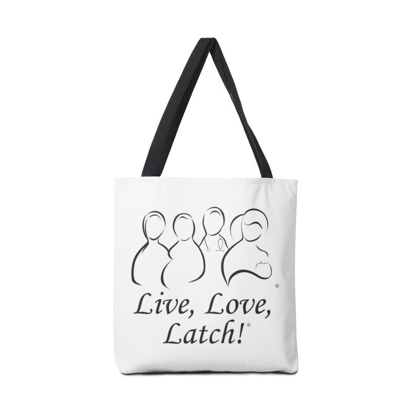 Live, Love, Latch! Black Accessories Tote Bag Bag by LLLUSA's Artist Shop