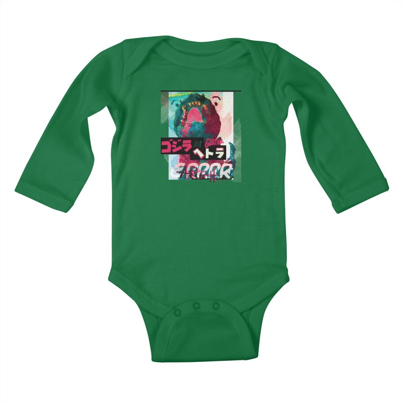 ARRRGH GODZILLA Kids Baby Longsleeve Bodysuit by Lads of Fortune Artist Shop