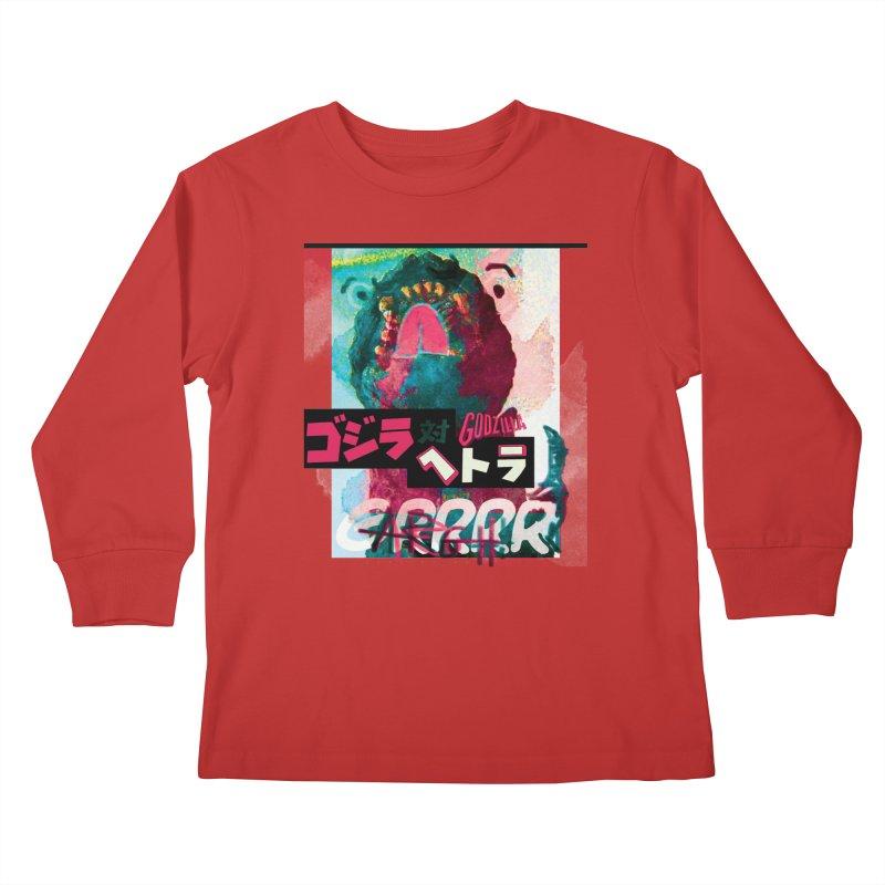 ARRRGH GODZILLA Kids Longsleeve T-Shirt by Lads of Fortune Artist Shop