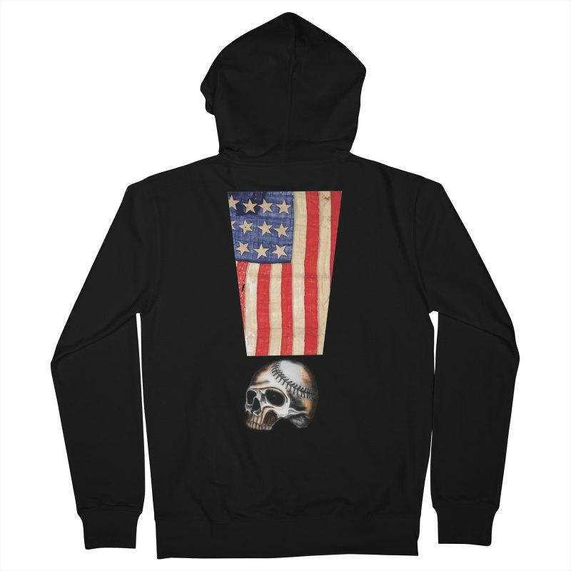 American Baseball Fan Women's French Terry Zip-Up Hoody by Lads of Fortune Artist Shop