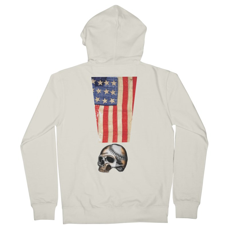 American Baseball Fan Men's French Terry Zip-Up Hoody by Lads of Fortune Artist Shop