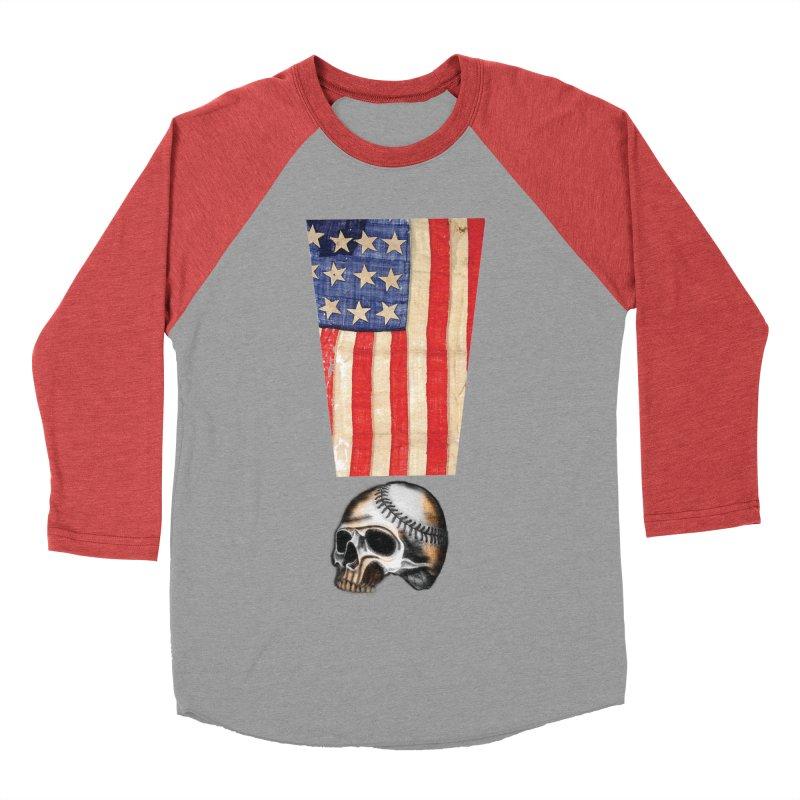 American Baseball Fan Women's Baseball Triblend Longsleeve T-Shirt by Lads of Fortune Artist Shop