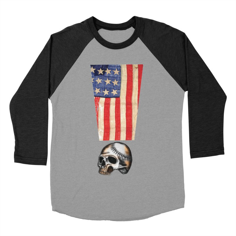 American Baseball Fan Women's Baseball Triblend Longsleeve T-Shirt by Lads of Fortune Artist Shop