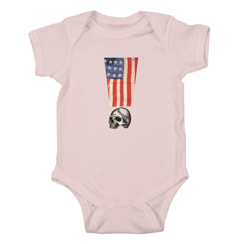 American Baseball Fan Kids Baby Bodysuit by Lads of Fortune Artist Shop